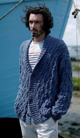 Men's hand knit cardigan 15A