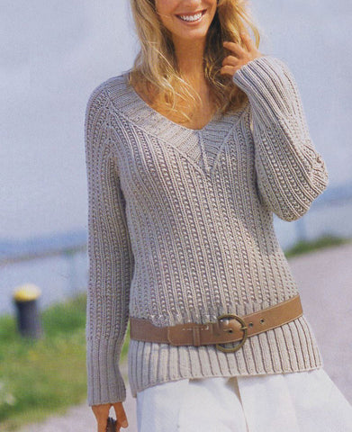Women's Hand Knit V-neck Sweater 25J - KnitWearMasters