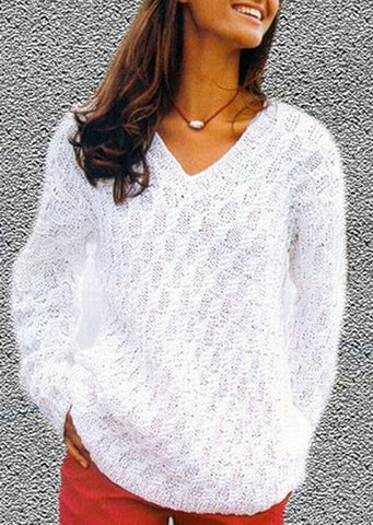 Women's Hand Knit V-neck Sweater 27J - KnitWearMasters