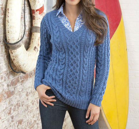 Women's Hand Knit V-neck Sweater 29J - KnitWearMasters