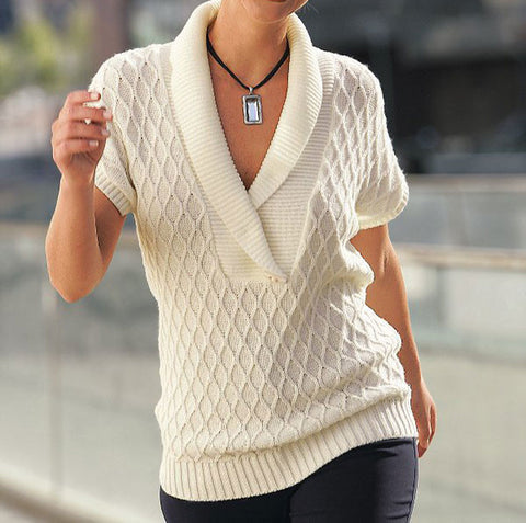 Women's Hand Knit V-neck Sweater 30J - KnitWearMasters