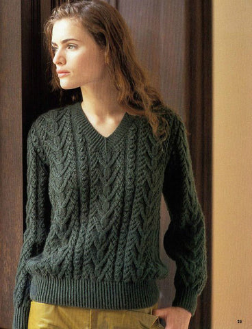 Women's Hand Knit V-neck Sweater 72J - KnitWearMasters