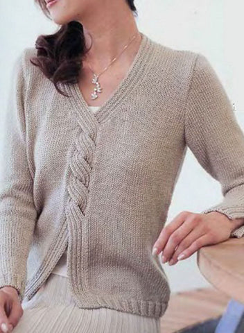 Women's Hand Knit V-neck Sweater 31J - KnitWearMasters