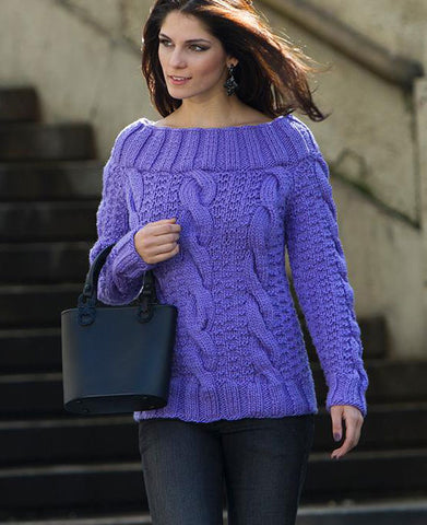 Women's Hand Knit Cowl Neck Sweater 68H - KnitWearMasters