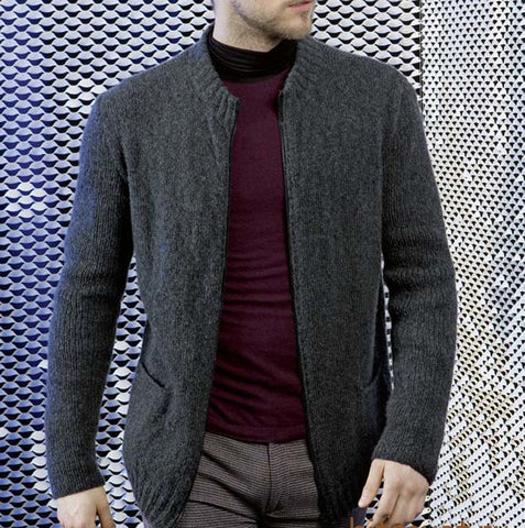 MENS HAND KNIT WOOL CARDIGAN 106A - KnitWearMasters