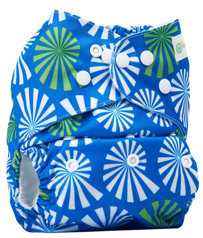 Bumberry Pocket Style Cloth Diaper (White Flowers on Blue) + One Microfiber Insert