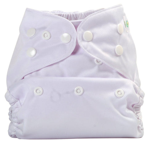 Bumberry Cloth Diaper Cover (White) + One Natural Bamboo Cotton Insert