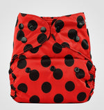 Bumberry Cloth Diaper Cover (Lady Bug) + One Natural Bamboo Cotton Insert