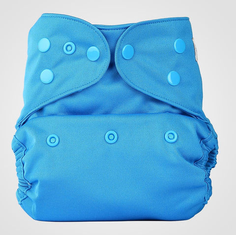 Bumberry Cloth Diaper Cover (Oceanic Blue) + One Natural Bamboo Cotton Insert