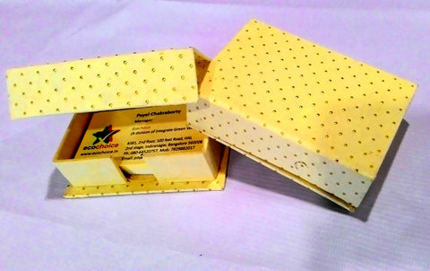 Visiting Card Holder – Golden Metallic Dots on Yellow Background