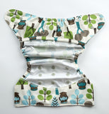 Bumberry Cloth Diaper Cover (Trees) + One Natural Bamboo Cotton Insert