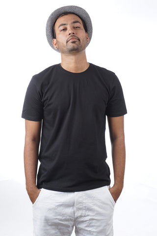 Indophile Plain Black Organic T Shirt