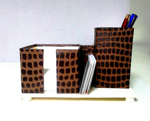 Pen, Card and Chit holder –  Brown with Embossed Patch Print