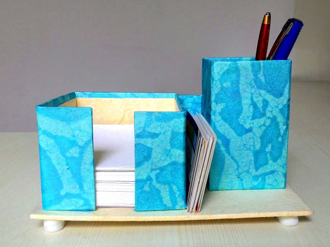 Pen, Card and Chit holder – Sky Blue with Shady Print