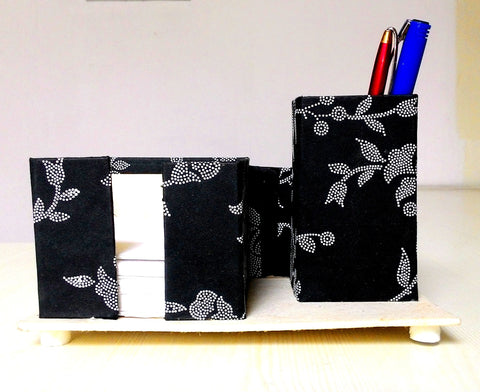 Pen, Card and Chit holder – Bold Black with Embossed Polka Dot Flower Print