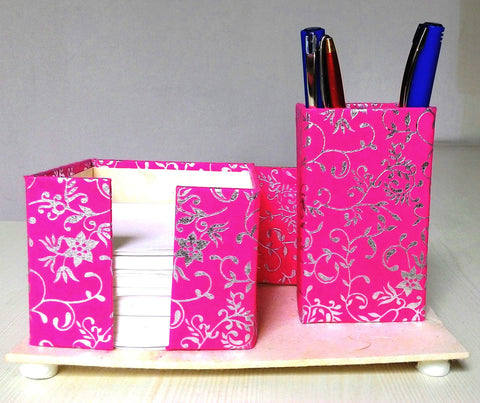 Pen, Card and Chit holder – Pink with Silver Floral Shrub Print