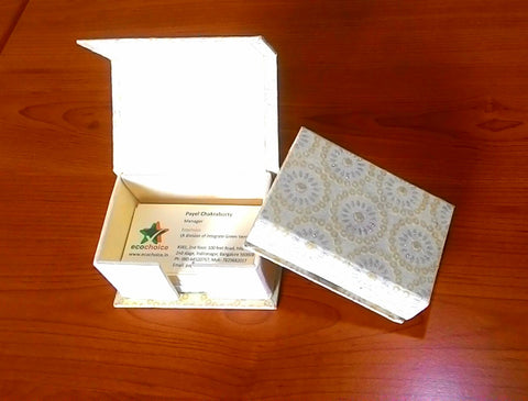Visiting Card Holder - Yellow with Silver Glitter Flowers on Off White Background