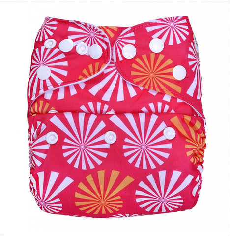 Bumberry Cloth Diaper Cover (White Flowers on Red) + One Natural Bamboo Cotton Insert