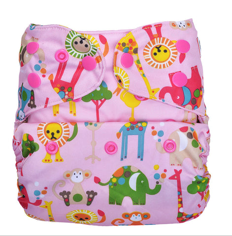 Bumberry Cloth Diaper Cover (Animal) + One Natural Bamboo Cotton Insert