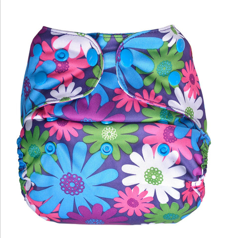 Bumberry Cloth Diaper Cover (Colorful Purple) + One Natural Bamboo Cotton Insert