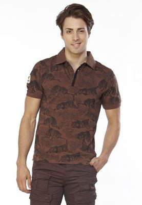 DUSG - Tiger Tales Mens Polo Shirt with All over Tiger Print made from 100% Organic Cotton Jersey