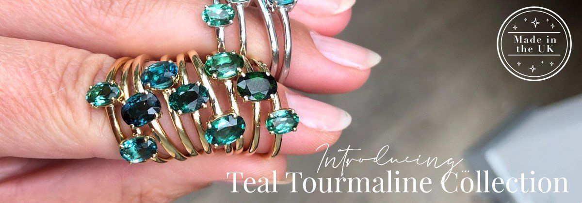 Introducing Our Limited Edition 9k Solid Gold Teal Tourmaline Collection – Made in the UK!
