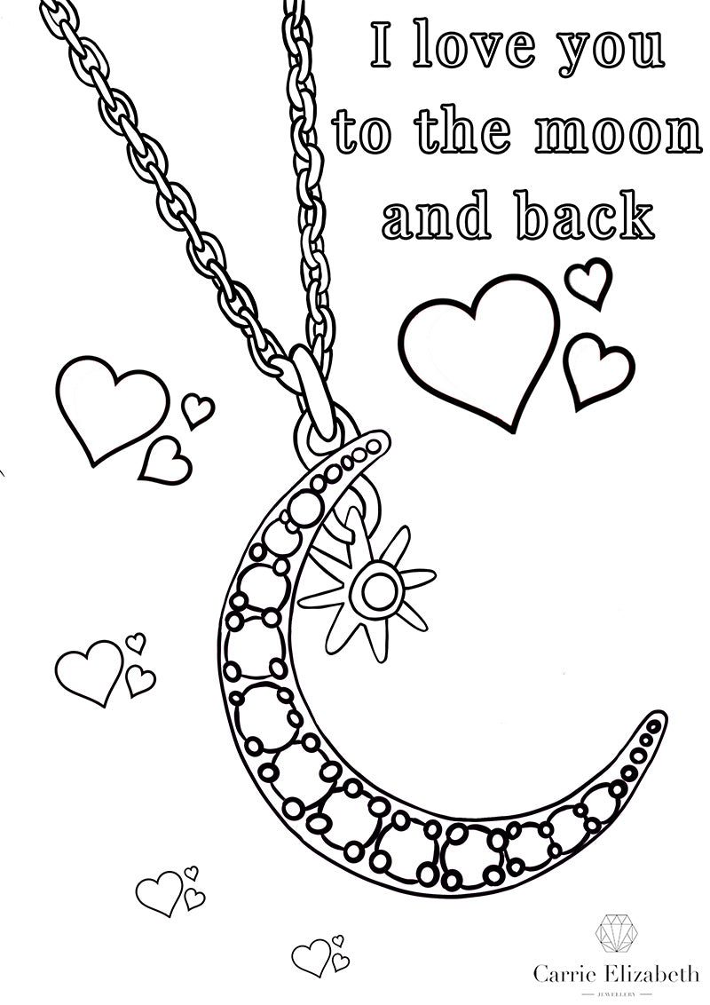 I love you to the moon and back colouring sheet