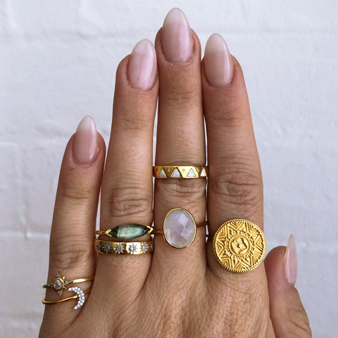 gold vermeil rings on hand