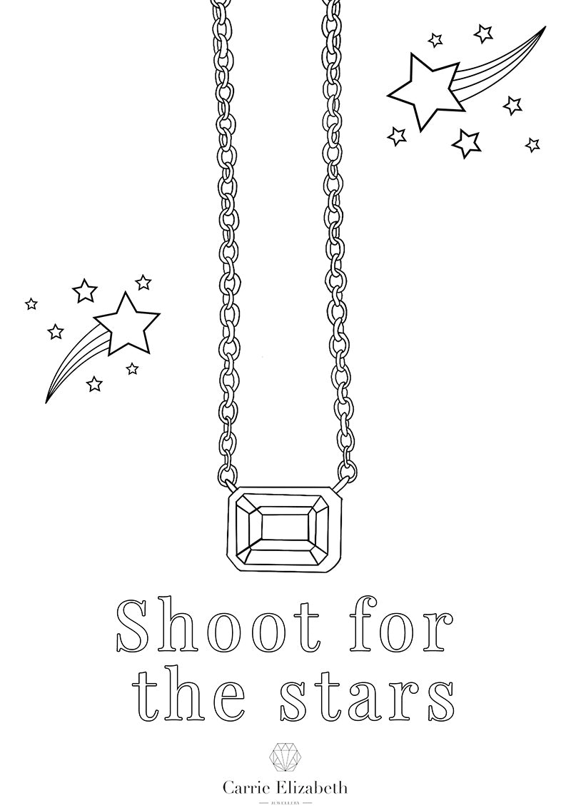 Shoot for the stars colouring sheet