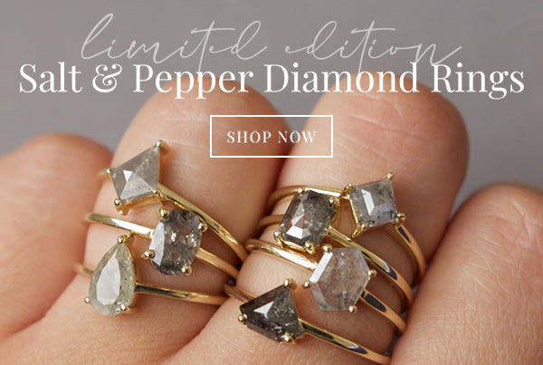 Carrie Elizabeth Limited Edition Salt and Pepper Diamond Rings