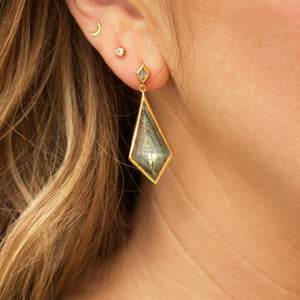 Statement Labradorite Kite Drop Earrings in Gold Plated Brass