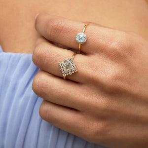 Milky Aquamarine & Diamond Halo Ring in Gold Vermeil