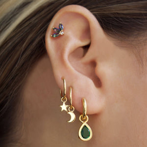 14k Gold Vermeil Star & Moon Charm Hoop Earrings