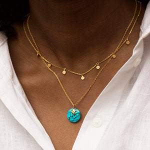 Turquoise North Star Gemstone Necklace in Gold Vermeil