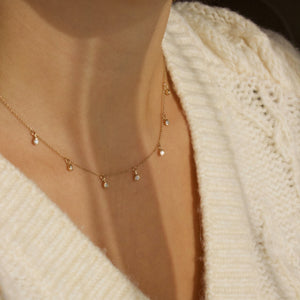 9k Solid Gold Diamond Drop Necklace