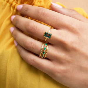 Green Onyx Marquise Gemstone Stacking Ring in Gold Vermeil