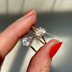 Vintage Kate Moonstone & Diamond Ring in Gold Vermeil