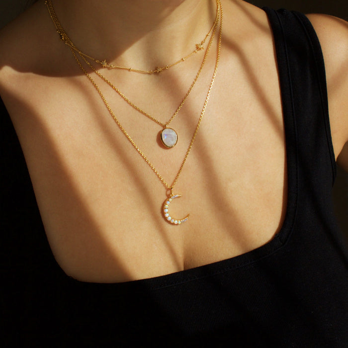 Dainty White Topaz Star Chain In Gold Vermeil