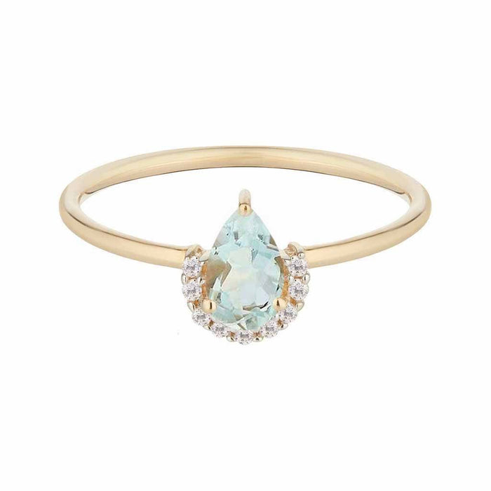14k Solid Gold Astrid Aquamarine & Diamond Ring
