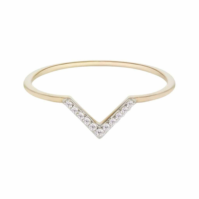 14k Solid Gold Diamond Pave V Stacking Ring