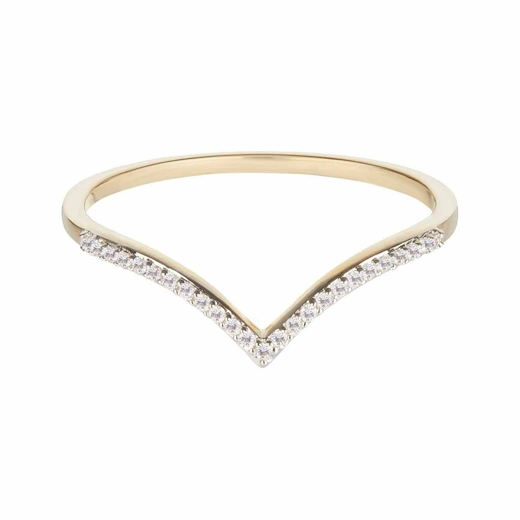 Diamond Wishbone Stacking Ring In 9k Solid Gold