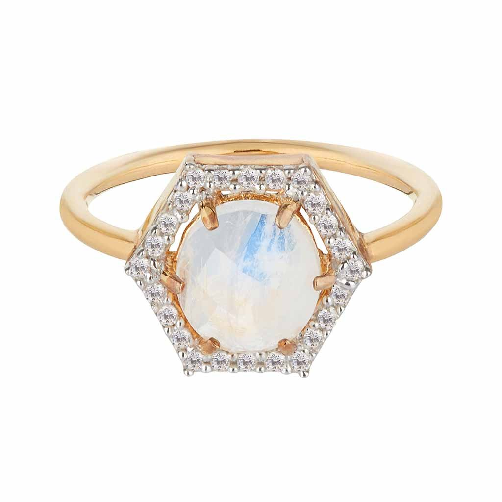 14k Solid Gold Hexagon Moonstone & Diamond Ring Ring Dwarkas