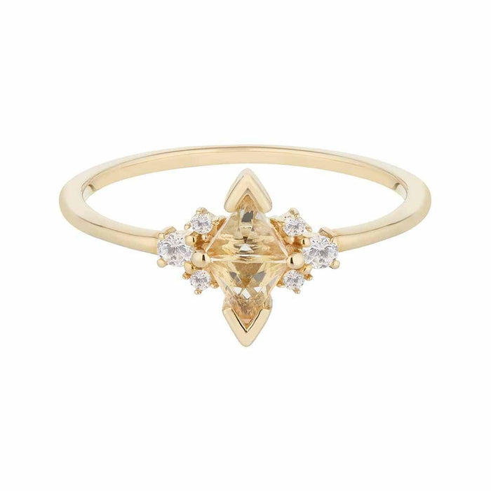 14k Solid Gold Luna Statement Ring in Morganite & Diamonds
