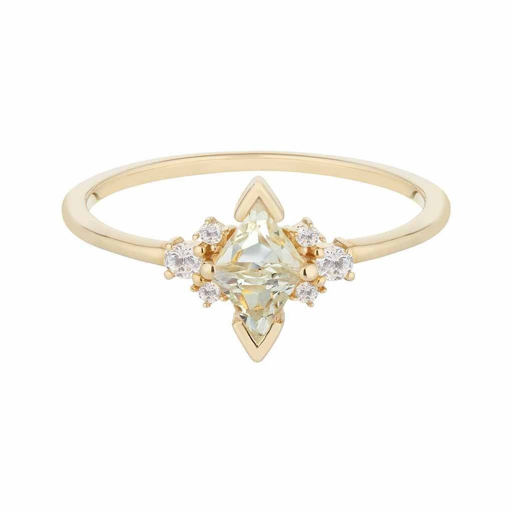 14k Solid Gold Luna Statement Ring in Green Amethyst & Diamond Ring Pink City