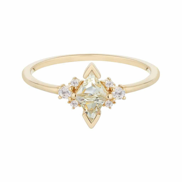 14k Solid Gold Luna Statement Ring in Green Amethyst & Diamond