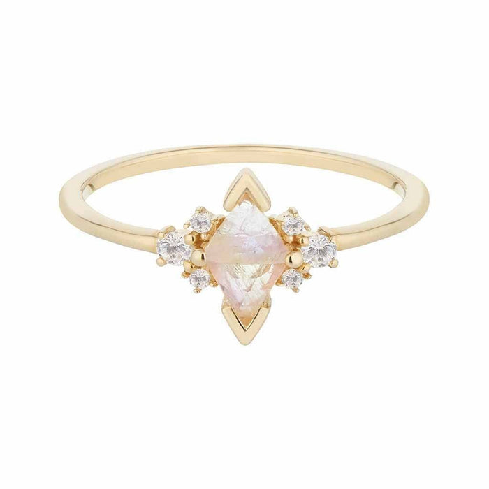 14k Solid Gold Luna Statement Ring in Moonstone & Diamond