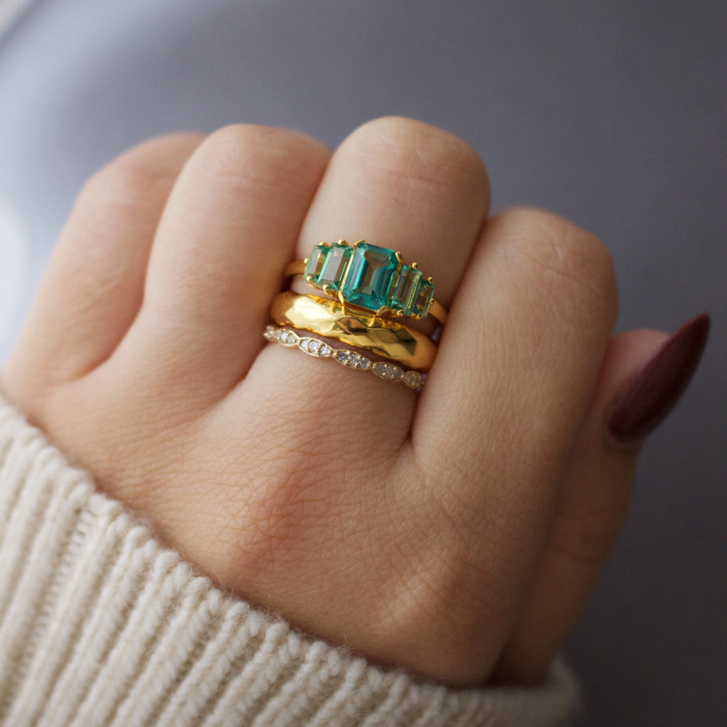14k Gold Vermeil Fern Green Topaz Deco Ring Ring PINK CITY