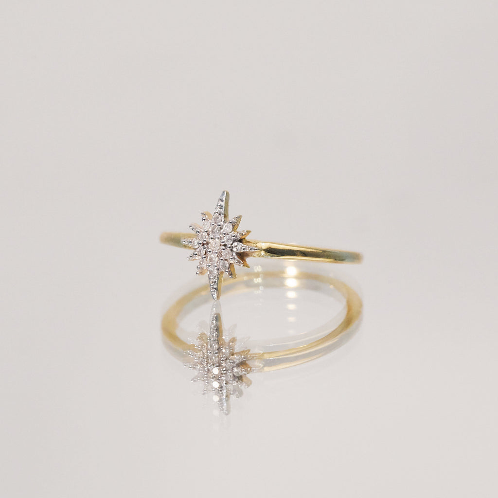 14k Gold Vermeil Mini Snowflake Ring in Diamond 130.00 Best Seller, Diamond, Gold, New In, over-80, ring