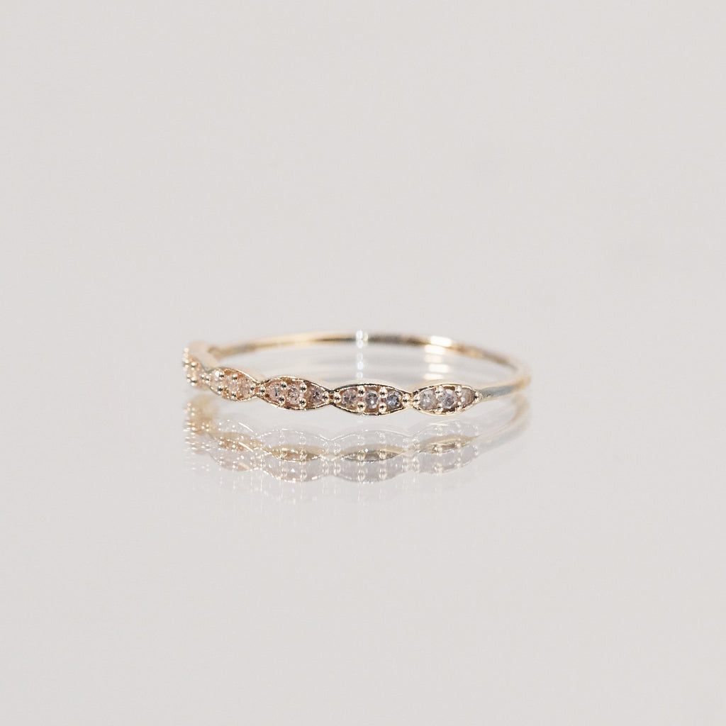 9K Solid Gold Diamond Waves Ring Ring Dwarkas