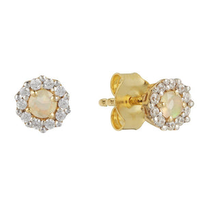 14k Gold Vermeil Opal & CZ Stud Earrings Earrings Dwarkas